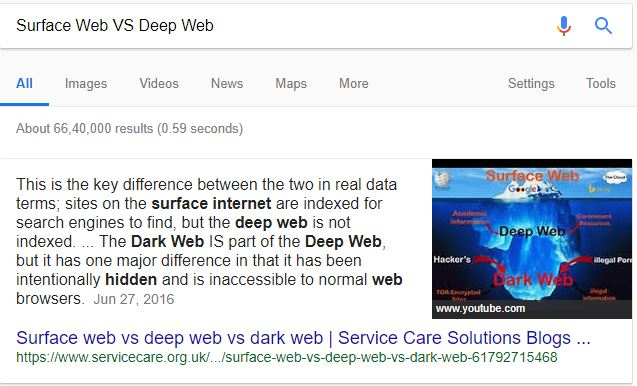 surface web vs dark web